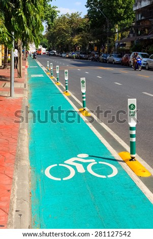 Road with Bike Lane in Bangkok, Thailand. - stock photo