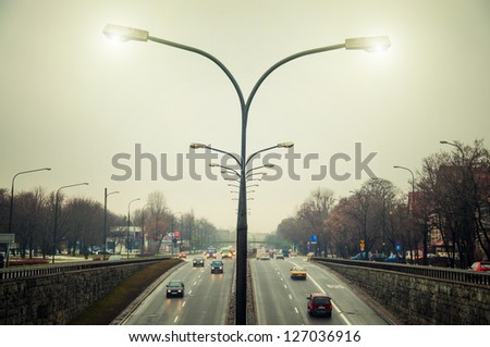 road with cars in Warsaw - stock photo