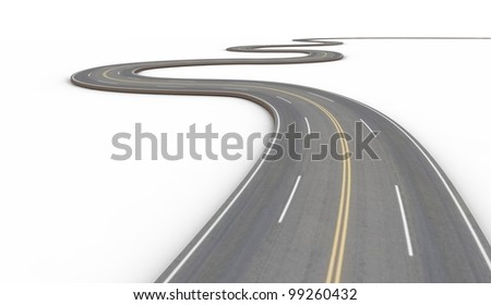Road with double yellow stripe. 3d illustration
