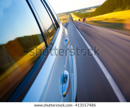 Road with motion blur - stock photo