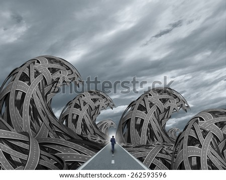Road with ocean storm waves as a determined business solution concept for overcoming risk as a businessman on a straight path through dangerous tsunami tidal waves shaped with tangled highways. - stock photo