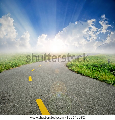 road with sunray background