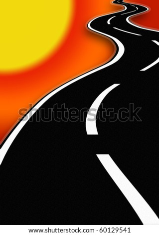 Road with sunset - stock photo