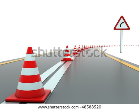 Road with traffic cones and sign right - stock photo