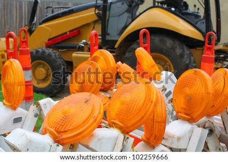 Road work flashers - stock photo