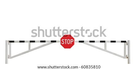 Roadblock Road Barrier Grunge Aged Weathered Gate And Stop Sign, Isolated - stock photo