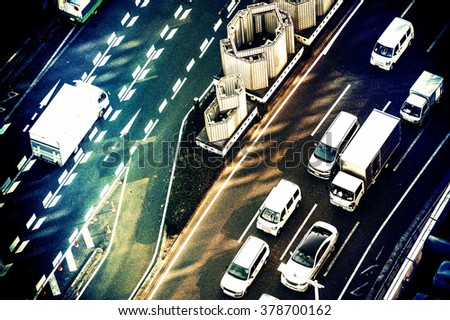 Roads and cars, shooting from above - stock photo