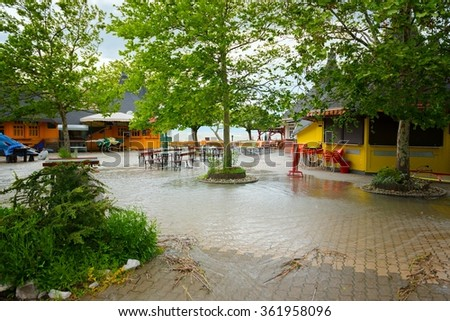 Roads and streets submerged by the flood - stock photo