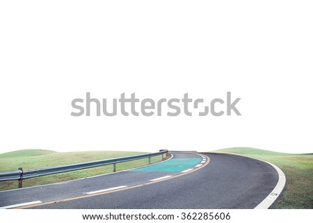 Roads curve and green grass on white background - stock photo