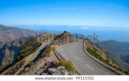 Roads in Madeira island, Portugal - stock photo