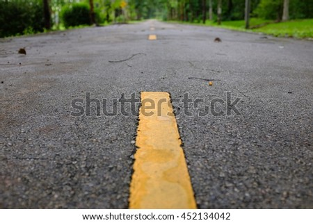 Roads in the parks,focus yellow road lines