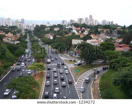 Roads of San Paulo, Brazil - stock photo