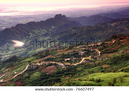Roads On The Mountain, Northern Thailand - stock photo