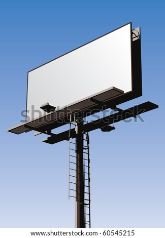 Roadside billboard sign with blank front for your message.