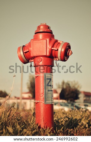 roadside fire hydrant closeup in urban setting.  - stock photo