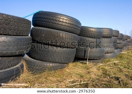 roadside stacked tires - stock photo