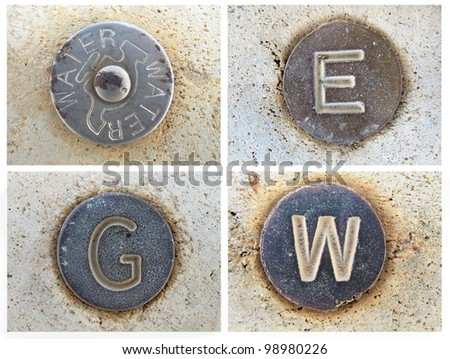 Roadside Utility Service buttons - stock photo