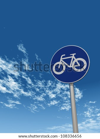 roadsign bicycle under cloudy sky - 3d illustration - stock photo