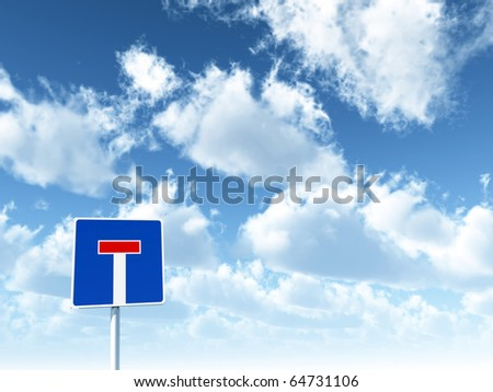 roadsign dead end under cloudy sky - 3d illustration - stock photo