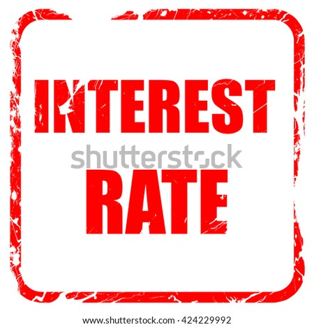 Roadsign of higher interest rates ahead against blue sky, red ru - stock photo