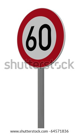roadsign speed limit sixty on white background - 3d illustration