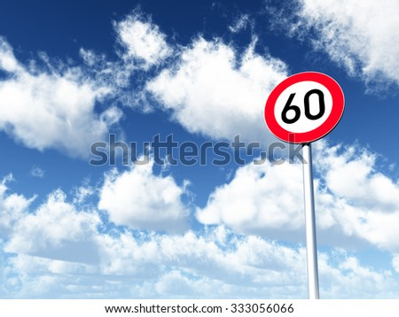roadsign speed limit sixty under cloudy blue sky - 3d illustration - stock photo