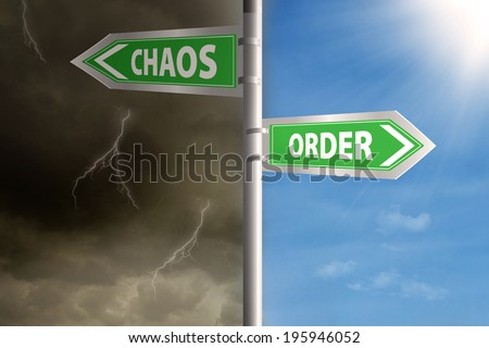 Roadsign to chaos and order with cloudy sky and clear sky