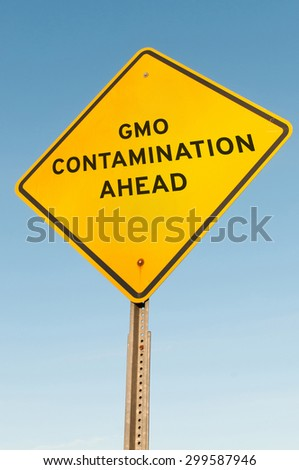 Roadsign warning that there is GMO contamination ahead - stock photo