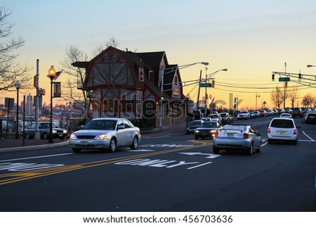 roadway and  cars - stock photo