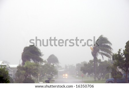 Roadway during Tropical Storm Fay shot in Brevard County, FL - stock photo