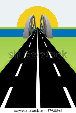 Roadway goes over the bridge and drifting away into the horizon. - stock photo