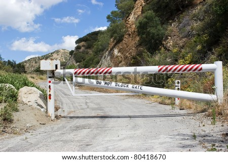 Roadway is close by a lock gate. - stock photo