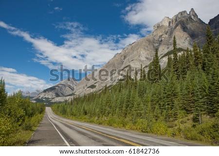 Roadway to Jasper National Park - stock photo