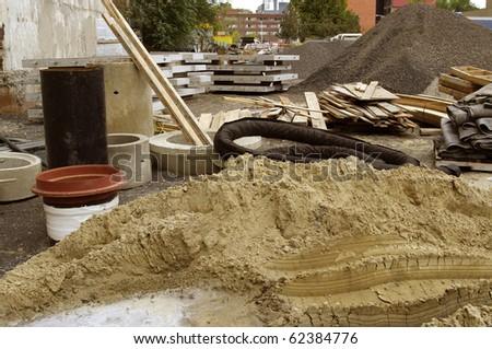 roadwork debris and construction material - stock photo