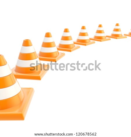 Roadworks orange cone composition over white as copyspace background - stock photo