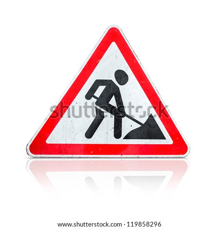 Roadworks, under construction, men at works sign isolated on white - stock photo