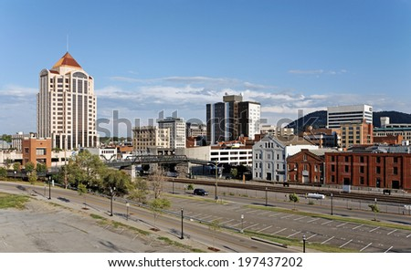 ROANOKE, VA - JULY 28: The downtown area located in Roanoke, Virginia on July 28, 2012. Located in the Roanoke Valley, Roanoke is the 10th largest city in the state of Virginia. - stock photo