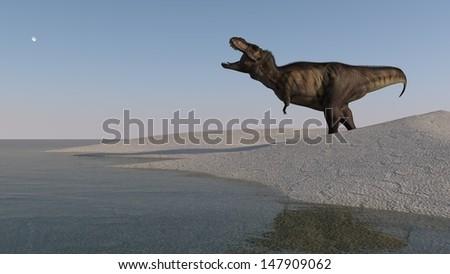 roaring tyrannosaurus - stock photo