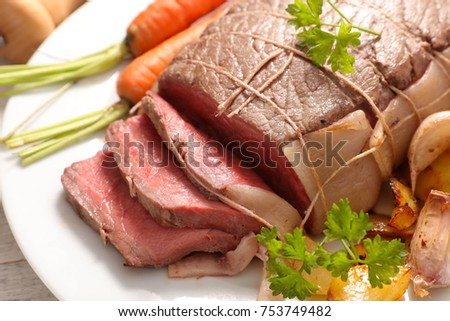 roast beef and vegetable