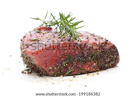 Roast beef in spice crust isolated on white background - stock photo