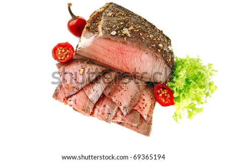 roast beef meat slice with red hot pepper