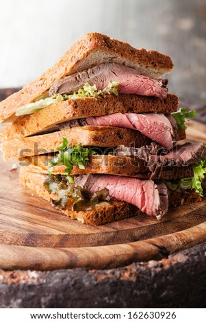 Roast beef sandwich with lettuce - stock photo