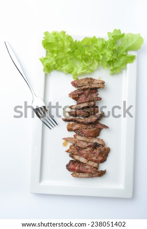roast beef sliced on white plate,Thai food - stock photo