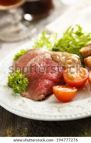 Roast beef with gravy and vegetables