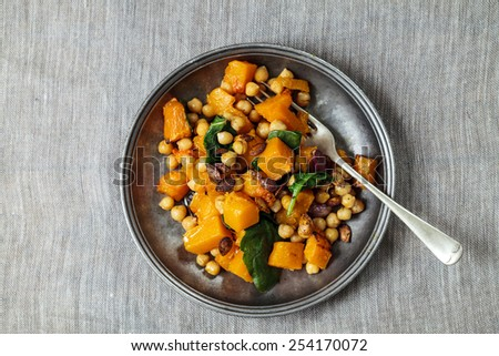 Roast butternut squash and chickpeas salad - stock photo