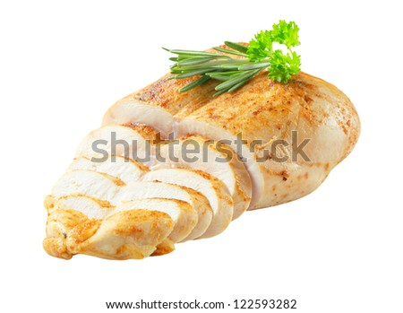 Roast chicken breast isolated on white - stock photo