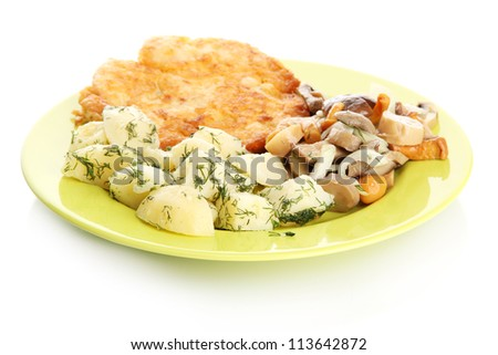Roast chicken cutlet with boiled potatoes on plate, isolated on white