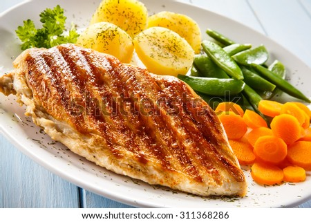 Roast chicken fillet and vegetables