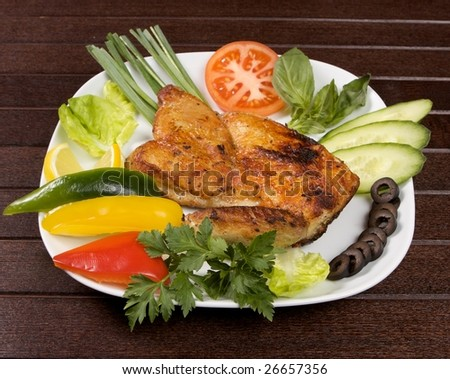 roast chicken in plate