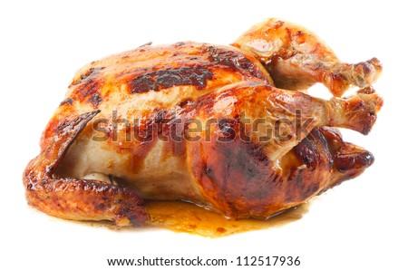 roast chicken isolated on white background - stock photo
